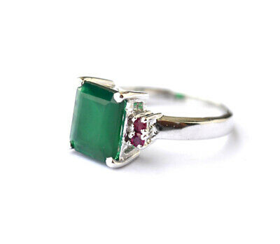 925 Sterling Silver Green Onyx Octagon Gemstone Designer Women/'s Ring SR-269