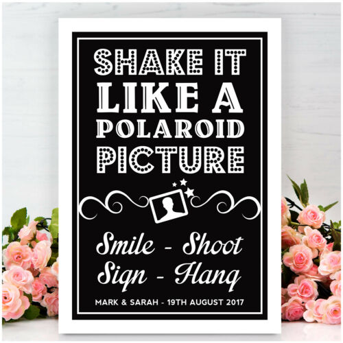 Shake It Like a Polaroid Picture PERSONALISED Wedding Photo Booth Signs Vintage