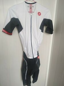 CASTELLI-FREE-SANREMO-TRISUIT-SHORT-SLEEVES-WHITE-BLACK-Size-Small-New