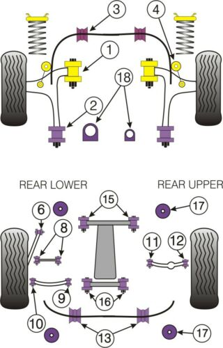 Powerflex Bush Poly For Subaru Legacy BE BH Front Wishbone Rear Bush