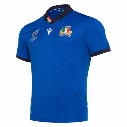 Macron Official Mens Italy Rugby World Cup Home Shirt Jersey Short Sleeve Top
