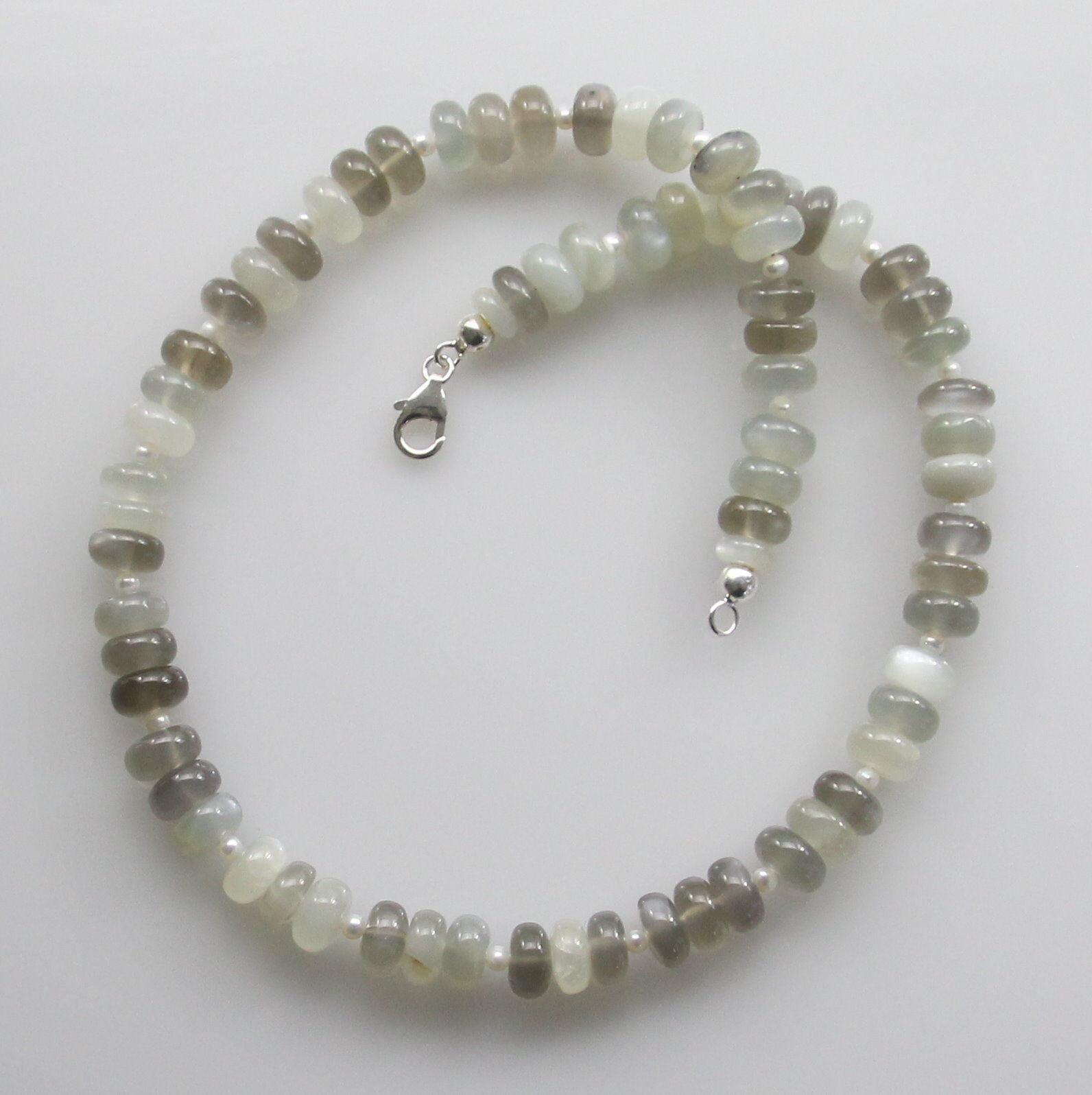 Pietra di luna catena-luna pietre RONDELLE Grigio e Bianco Bianco Bianco Collana per Donna 47 5 cm 7355ea