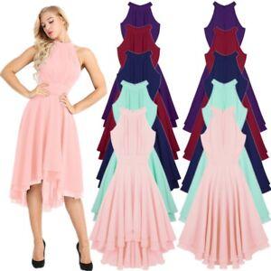 Women-Halter-Neck-High-low-Chiffon-Bridesmaid-Dresses-Dancewear-Party-Prom-Gown