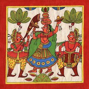 Rajasthani Phad Painting Handmade Indian Folk Miniature Royal Maharani Wall  Art | eBay