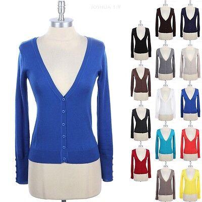 Women's BASIC PLAIN Long Sleeve Button Down Solid V Neck Knit Cardigan S M L