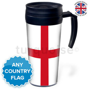 personalised custom thermal mug coffee travel flask cup uk england flag 8944378395905 ebay. Black Bedroom Furniture Sets. Home Design Ideas