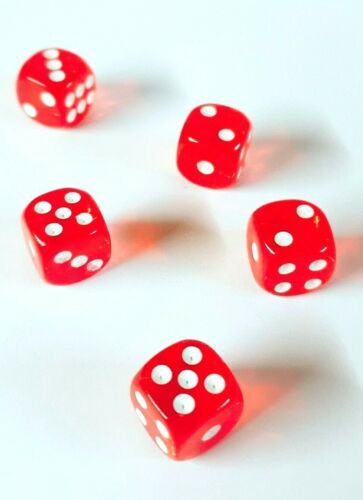 5X RED Opaque 14mm 6 Sided Spot Dice D6 RPG for Ludo Monopoly Board Games UK
