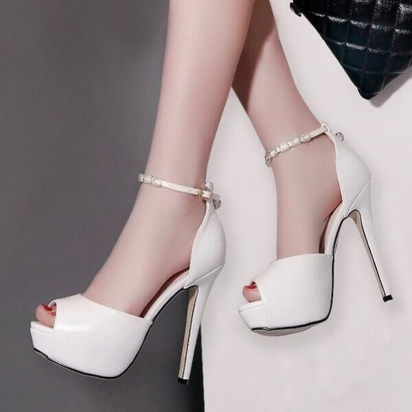 Decolte sandali 13 cm plateau bianco aperto cinturino pelle sintetica CW453