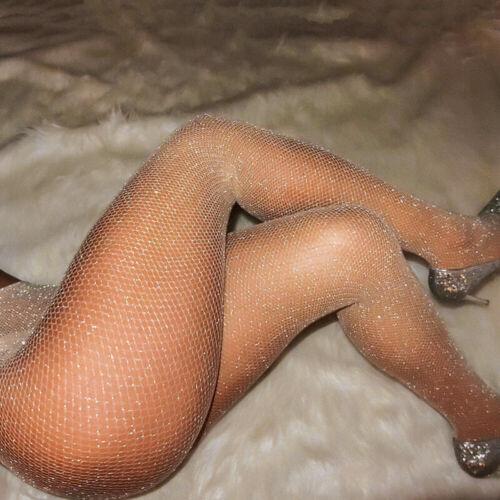 Womens Crystal Rhinestone Glitter Fishnet Net Mesh Socks Stockings Pantyhose US