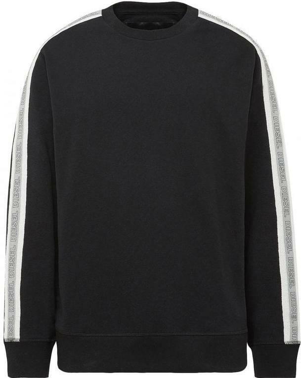 Diesel UMLT-WILLY Mens Taped Sweatshirt Long Sleeve Black