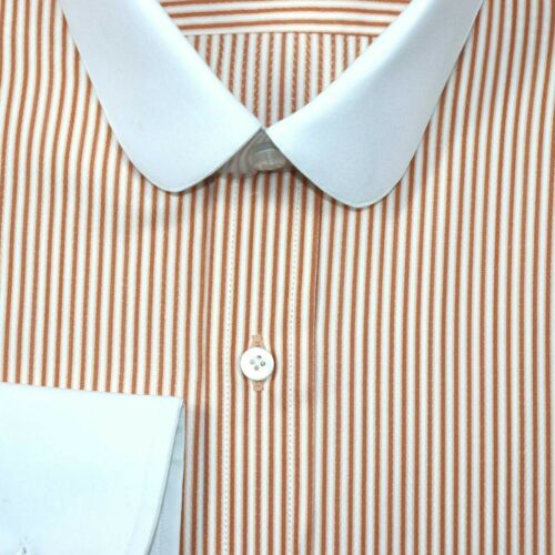 Mens Penny collar shirts Orange stripes Peaky Blinders Round Club Grandad Gents