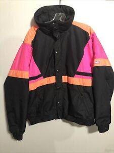 Vintage-Black-Pink-Orange-Ski-Jacket-XL-Full-Zip-Lined-CB-Sports