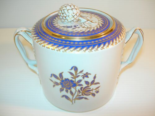 BEAUTIFUL SPODE NEW STONE CANTON STYLE LIDDED SUGAR DISH BLUE GOLD ACCENTS
