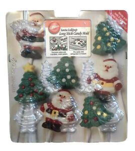 Wilton-Vintage-1994-christmas-lollipop-candy-molds-Long-Stick-Original-Package