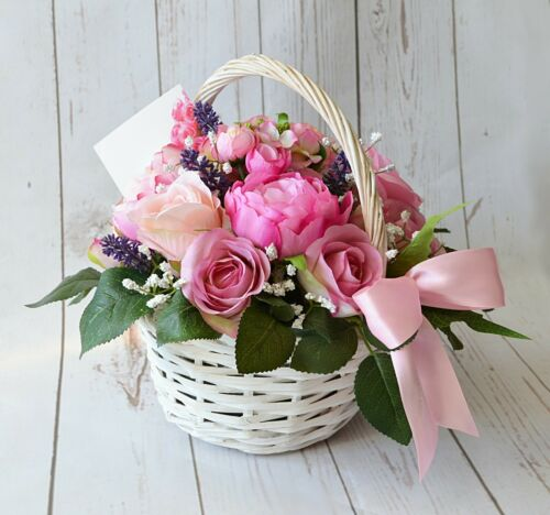 Pink Roses And Peonies Artificial Flower Arrangement in Wicker Basket