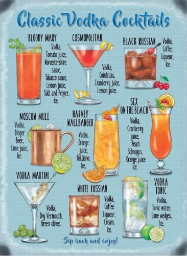 New 15x20cm Classic Vodka Cocktail recipe metal advertising wall sign
