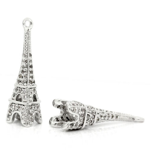 1 Pc Copper Charm Paris Eiffel Tower Bright Sparkly Silver 23mm x 7mm LC3572