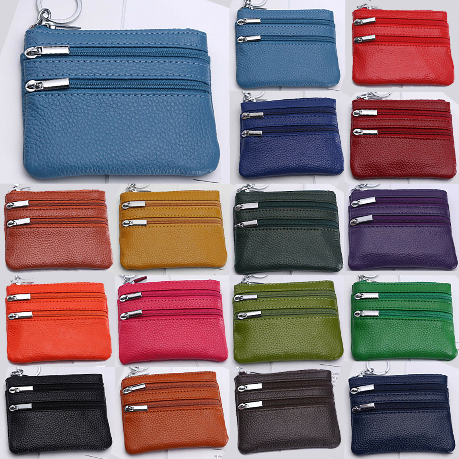 Fashion Womens Coin Purse Small Double Layer Zipper Wallet Money Bags Key Holder