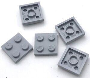 Lego-5-Nuevo-Luz-Gris-Azulado-Placas-2-x-2-Punto-Pieces