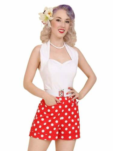 Vintage Shorts, Culottes,  Capris History    1940s 1950s vintage style Vivien of Holloway Shorts Red Polka Pinup Summer £55.00 AT vintagedancer.com