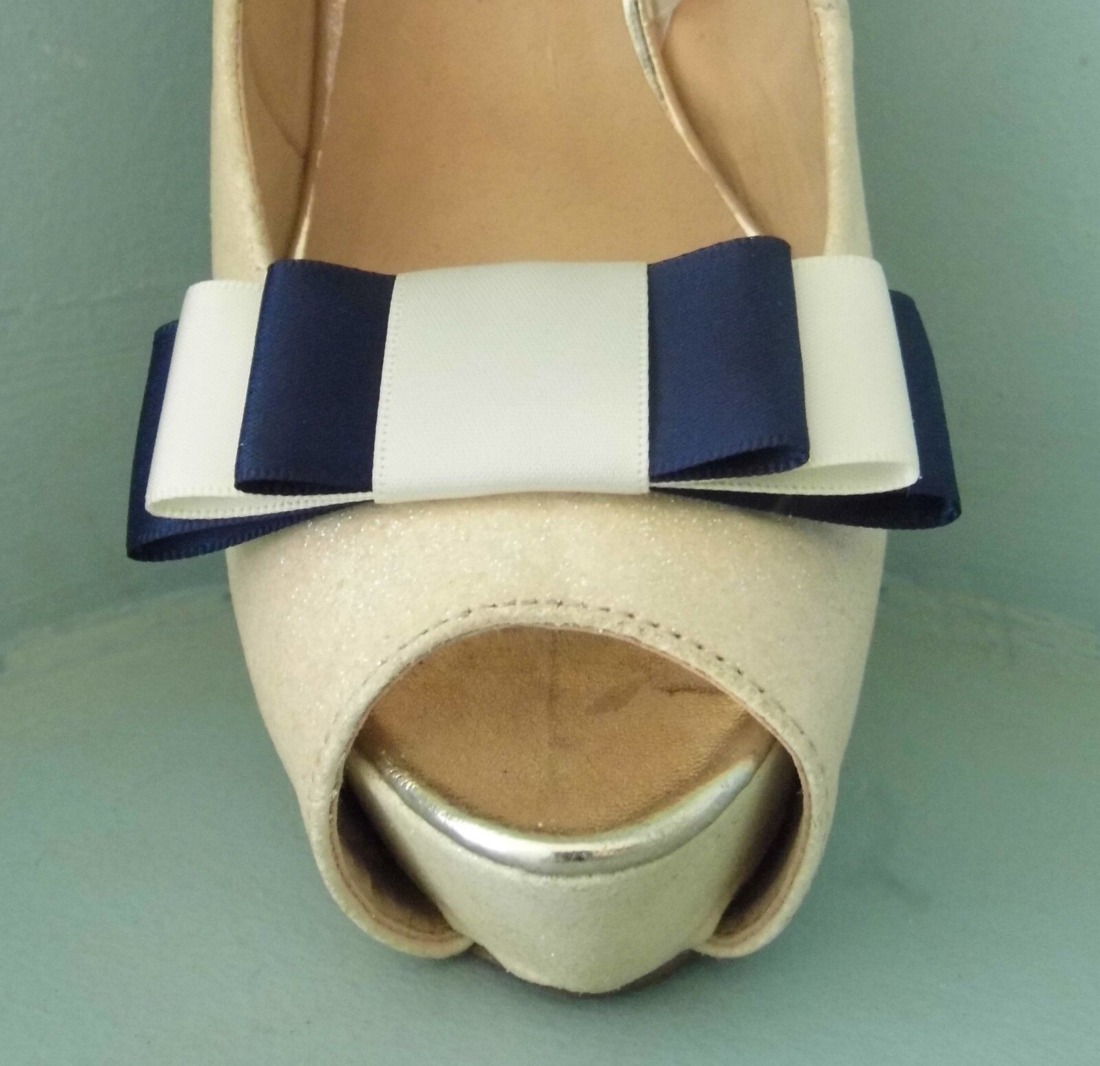 2 Navy & Ivory Triple Bow Clips for Shoes - other colours on request