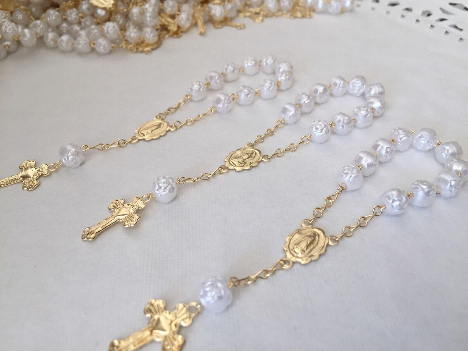 100 Pièces Mini Chapelet Blanc Baptême Cadeaux Communion Cadeaux Recuerdos de