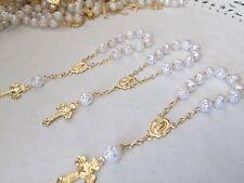 12 Pc Mini Rosary WHITE Baptism Favors/Communion Favors/recuerdos De Bautizo
