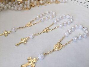 60 Pc Mini Rosarios WHITE Baptism Favors/Communion Favors/recuerdos De Bautizo