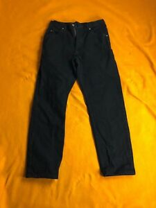 Men-039-s-jeans-WRANGLERS-black-with-tan-brown-label-relaxed-32x32-fits-30x28-EUC