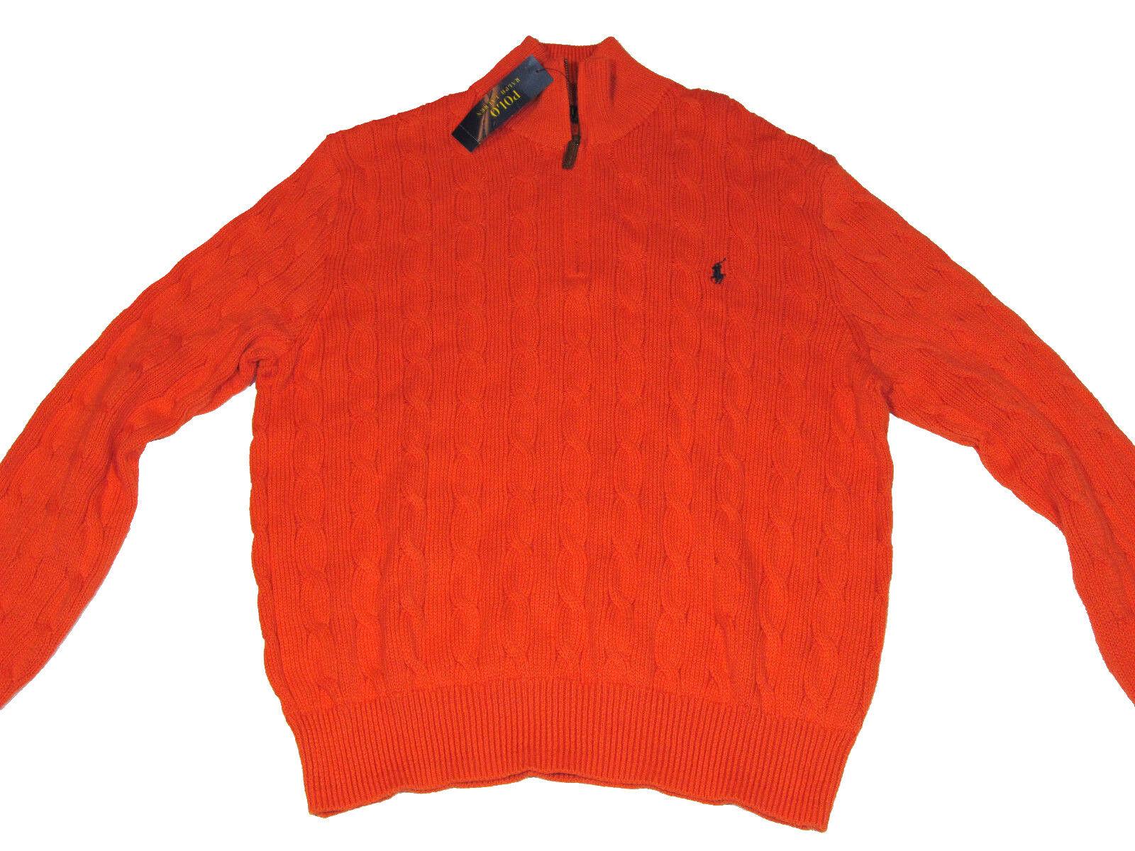 NWT Ralph Lauren Polo Mens Size L orange Sweater w Zipper  MSRP
