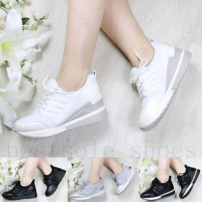 Detalles de Nuevas señoras para mujer Zapatillas Cuña Tacón Interno Cierre Hi Top Botas al Tobillo Zapatos Talla ver título original