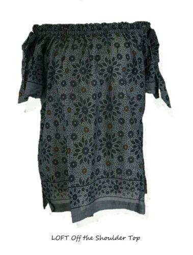 Details about  /LOFT  Blue Painterly Floral Off The Shoulder Blouse Top XXSP SP S M NWT