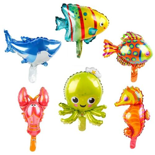Lovely 6pcs Ocean Fish Octopus Shark Foil Balloons Animal Birthday Party Decor