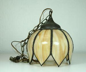 VTG-Stain-Slag-Glass-Lamp-Light-Fixture-Shade-Butterscotch-Flower-Petal-Pendant