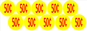 10-Price-Stickers-VENDING-MACHINE-CANDY-STICKERS-LABEL-50-Cent-Free-Shipping