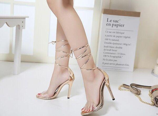 Sandale eleganti tacco stiletto 11 cm oro lacci  simil pelle eleganti 9846