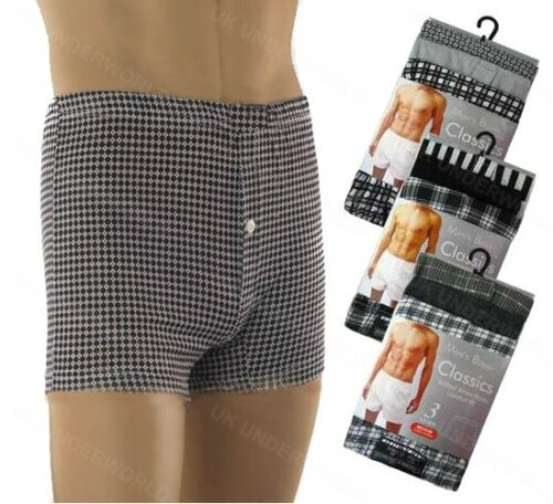 Mens Boxer Shorts Checked Pattern Jersey Briefs Pants Adults Underwear 3 Pairs