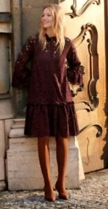 b945c35480aeb 2018 Trend H&M Short Flounce Burgundy Wide Lace Dress L BNWT Blogger ...