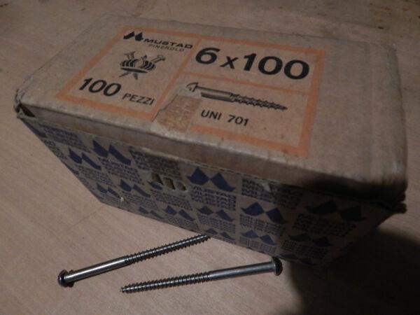 100 Viti Vecchio Tipo 6 X 100 In Ferro Testa Bombata A Taglio A Vite Per Legno Numerosi In Varietà