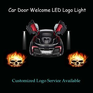 Details about 2 x 3D Ghost Rider Skull Logo Car Door Laser Projector Ghost  Shadow LED Light