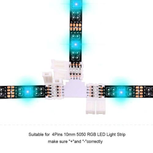 10mm 4 Pin Straight L T Shape Clip Connector for 3528 5050 RGB LED Strip Light