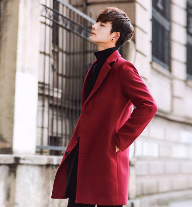Mens Wool Blend Slim Fit Long Trench Casual Coat Outwear Overcoat Muk15