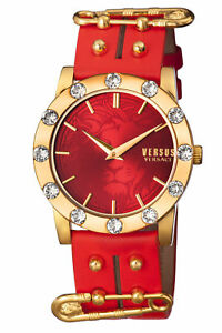Versus-By-Versace-Women-039-s-S73050016-MIAMI-CRYSTAL-Gold-IP-Red-Leather-Watch
