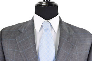 Luciano-Barbera-Suit-Sz-44L-In-Gray-W-Bold-Blue-POW-Plaid-FF-Pants-Side-Vents
