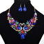 Chic-Bib-Collar-Choker-Chunky-Rhineston-Crystal-Chain-Pendant-Statement-Necklace thumbnail 2