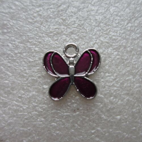 SP Enamel Pendants 12mm Crafts Jewellery Making 10 Purple Butterfly Charms