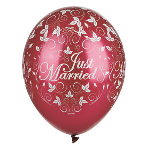 30-Luftballons-29-cm-bordeaux-034-Just-Married-034-metallic-Hochzeit-Partydeko