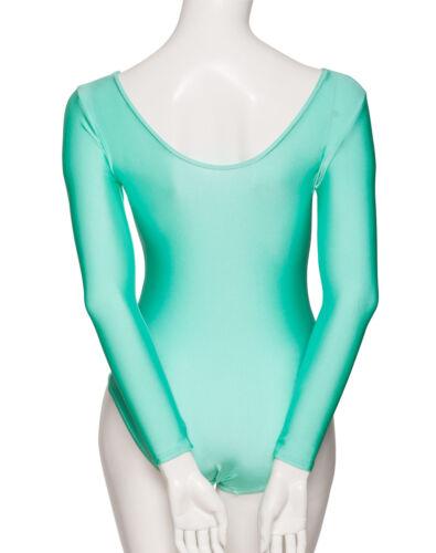 Ladies Girls Mint Green Ballet Dance Gym Long Sleeve Lycra Leotard KDC029 Katz