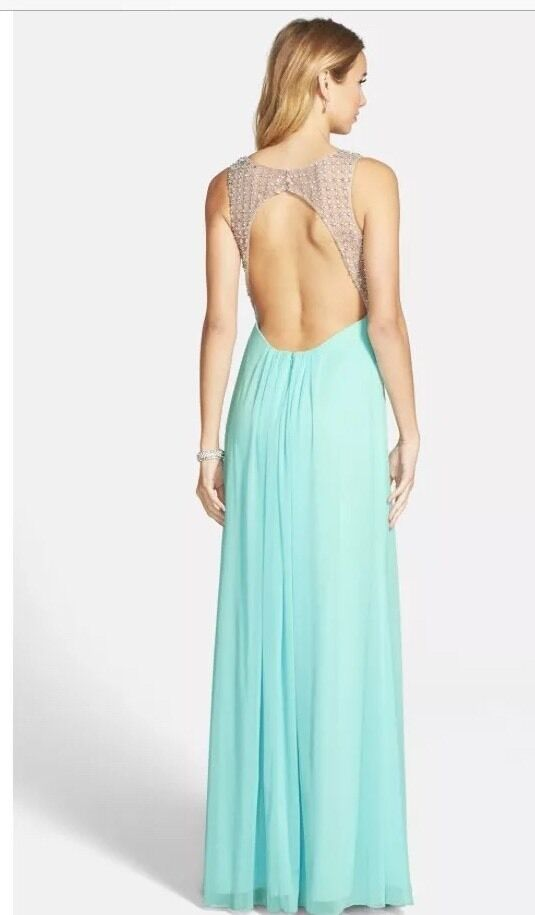 NWT SZ. 2 2 2  XSCAPE BEADED RUCHED BODICE MESH GOWN ICY MINT RETAILS AT  225 e24a09