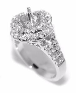 Unique-0-83-Ct-Double-Halo-Diamond-Semi-Mount-Setting-Engagement-Ring-14K-Gold